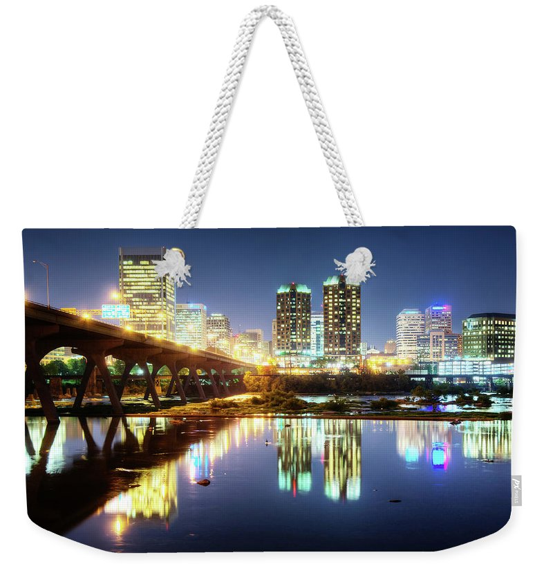 Tranquility Weekender Tote Bag featuring the photograph Rva Summer Night - Richmond Va On The by Sky Noir Photography By Bill Dickinson