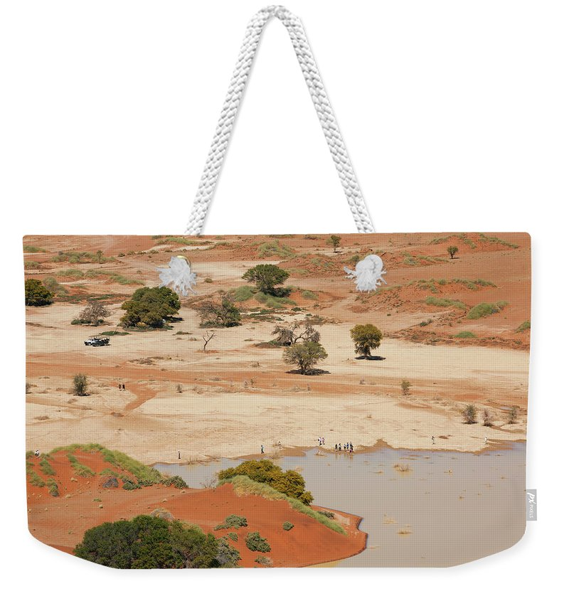 Namibia Weekender Tote Bag featuring the photograph Safari Tourists By Sossusvlei Pan by Bjarte Rettedal
