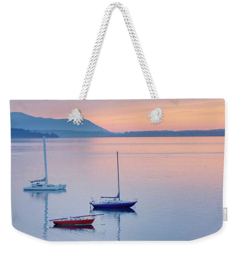 Scenics Weekender Tote Bag featuring the photograph Sailboats In Bellingham Bay Washington by Alan Majchrowicz