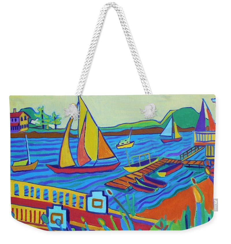 Landscape Weekender Tote Bag featuring the painting Sailing at Tucks Point Manchester by the sea by Debra Bretton Robinson