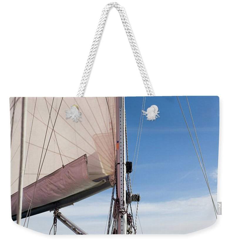 Baltic Sea Weekender Tote Bag featuring the photograph Sailing Boat In Sea by Bjurling, Hans