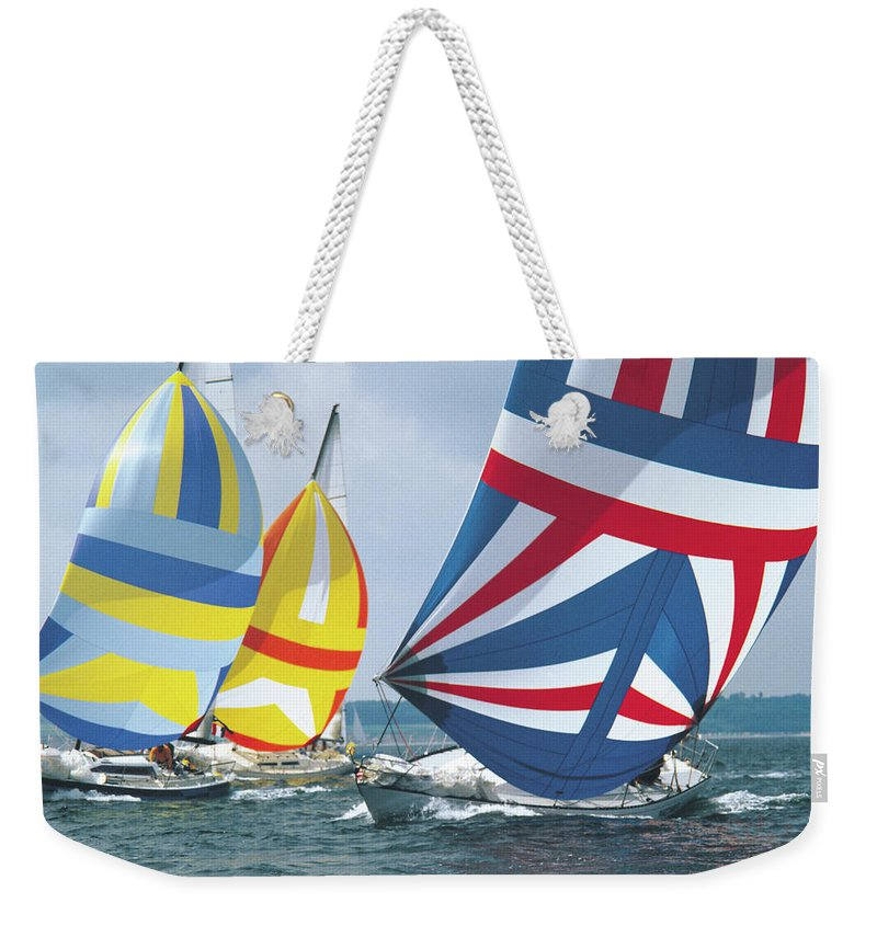 Wind Weekender Tote Bag featuring the photograph Sailing Race by John Foxx