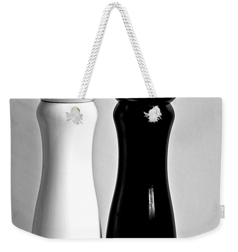 Black Color Weekender Tote Bag featuring the photograph Salt & Pepper by Daniela White Images