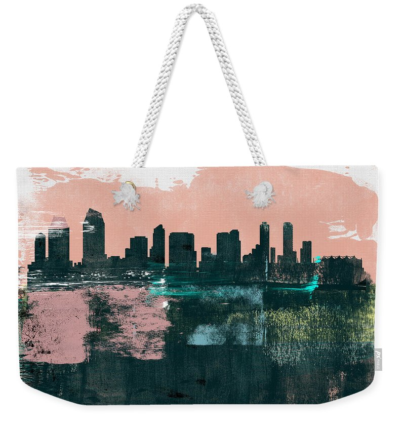 San Diego Weekender Tote Bag featuring the mixed media San Diego Abstract Skyline I by Naxart Studio