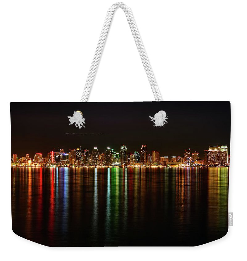 California Weekender Tote Bag featuring the photograph San Diego Skyline From Harbor Island by David Toussaint