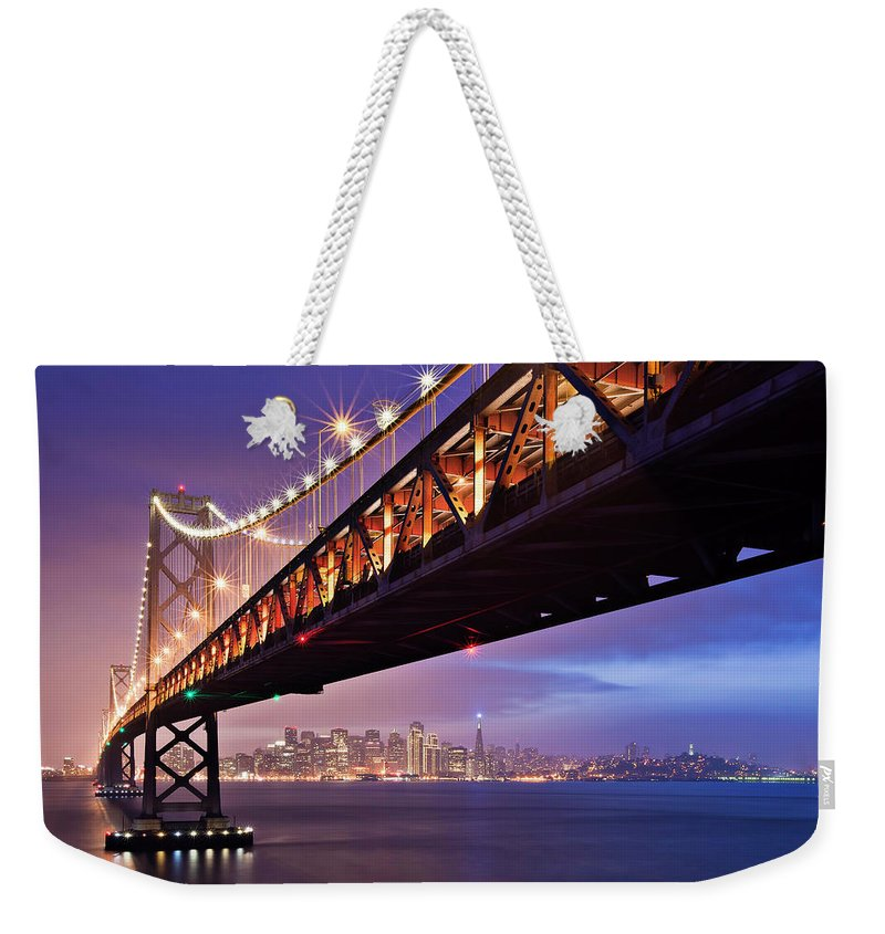 Tranquility Weekender Tote Bag featuring the photograph San Francisco Bay Bridge by Photo By Mike Shaw