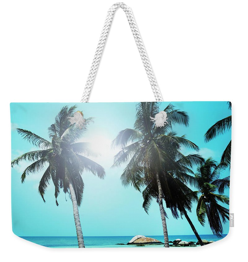 Scenics Weekender Tote Bag featuring the photograph Sandy Beach With Palm Trees And Small by Henrik Sorensen