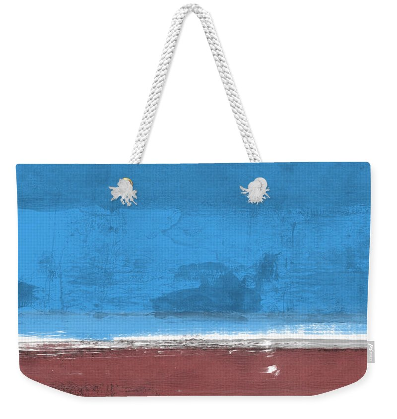 Abstract Weekender Tote Bag featuring the painting Sangria And Blue Abstract Study by Naxart Studio