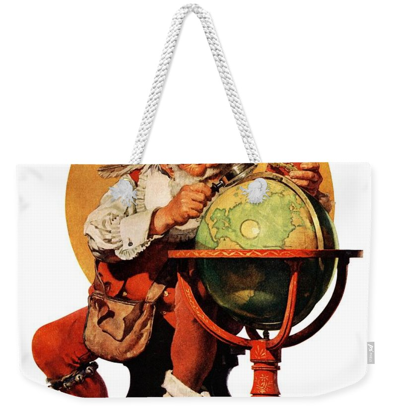 Globes Weekender Tote Bag featuring the drawing Santa At The Globe by Norman Rockwell