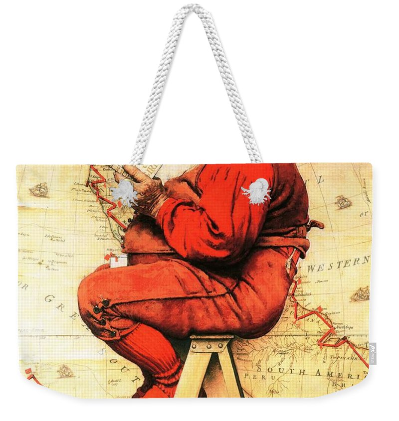 Christmas Weekender Tote Bag featuring the drawing Santa At The Map by Norman Rockwell
