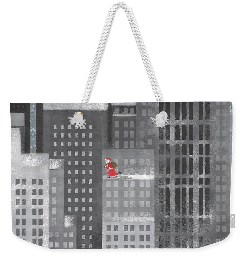 Shadow Weekender Tote Bag featuring the digital art Santa Clause Running On A Skyscraper by Jutta Kuss