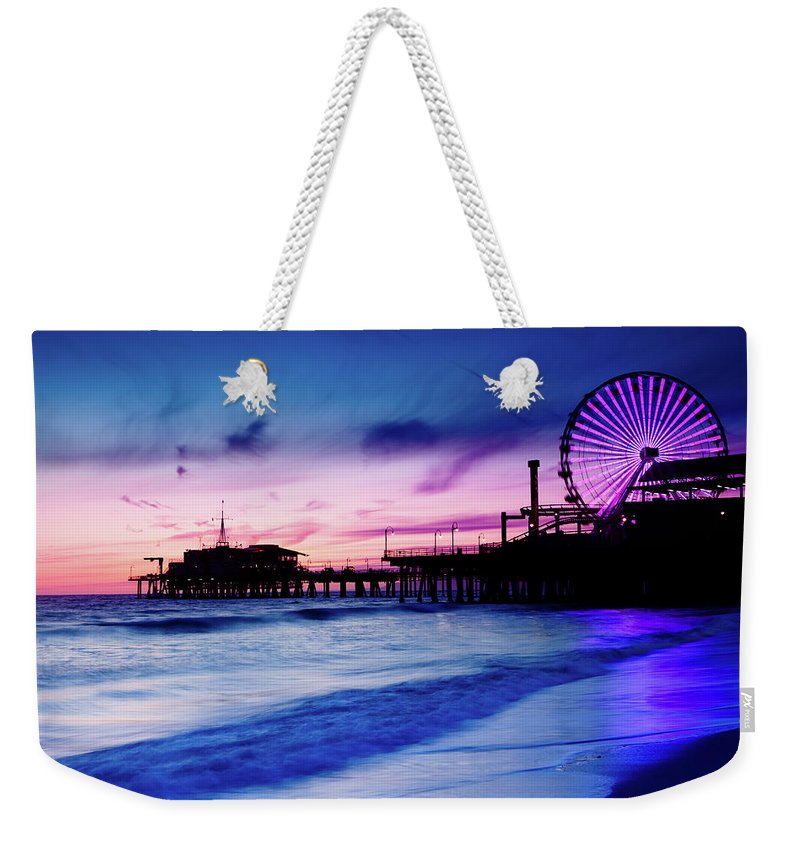 Commercial Dock Weekender Tote Bag featuring the photograph Santa Monica Pier With Ferris Wheel by Pawel.gaul