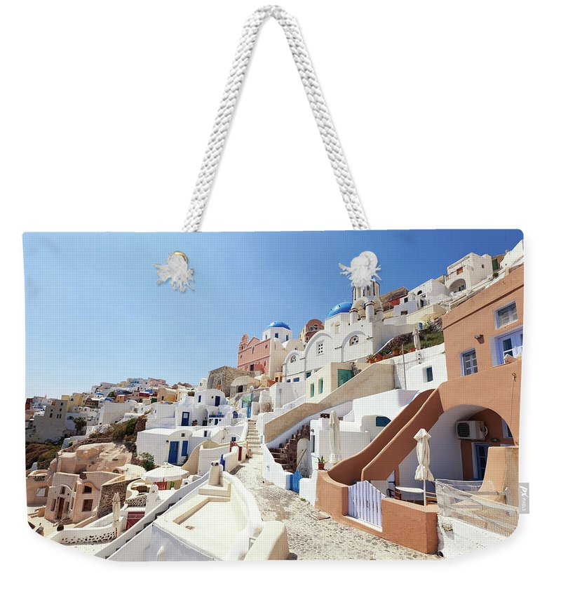 Steps Weekender Tote Bag featuring the photograph Santorini, Churches And Houses by Richmatts