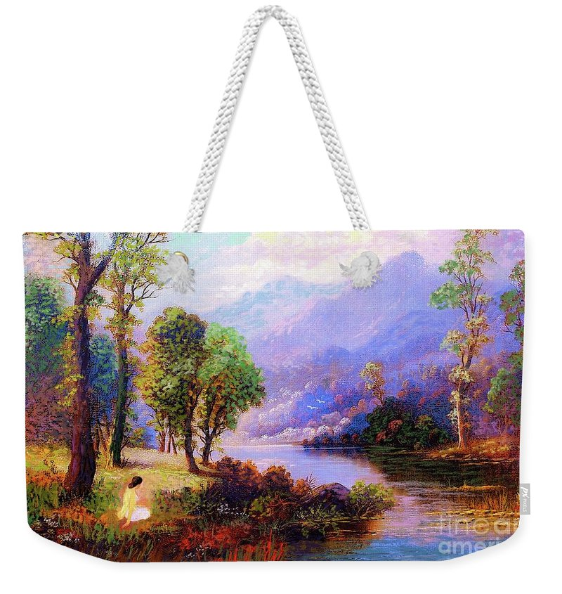 Meditation Weekender Tote Bag featuring the painting Sapphire Dreams by Jane Small