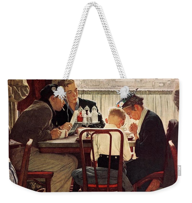 Eating Weekender Tote Bag featuring the drawing Saying Grace by Norman Rockwell