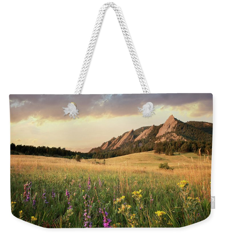 Tranquility Weekender Tote Bag featuring the photograph Scenic View Of Meadow And Mountains by Seth K. Hughes