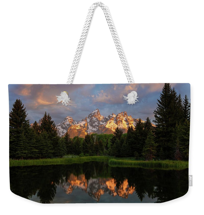 Tranquility Weekender Tote Bag featuring the photograph Schwabacher Sunrise by Hansrico Photography