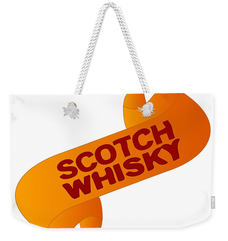 Scotch Weekender Tote Bag featuring the digital art Scotch Whisky Alcohol Scroll by Bigalbaloo Stock