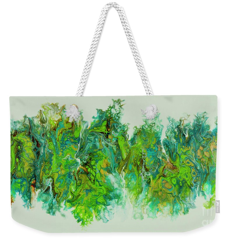 Poured Acrylic Weekender Tote Bag featuring the painting Sea Lettuce Creature by Lucy Arnold