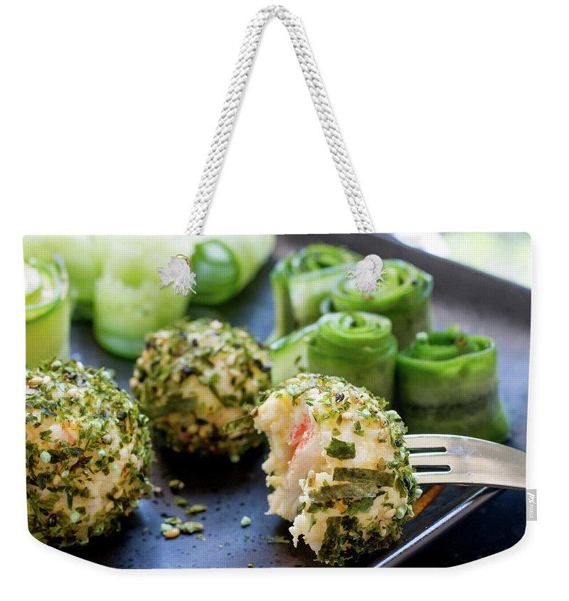 Prawn Weekender Tote Bag featuring the photograph Seafood Cheese Balls by Katya Lyukum