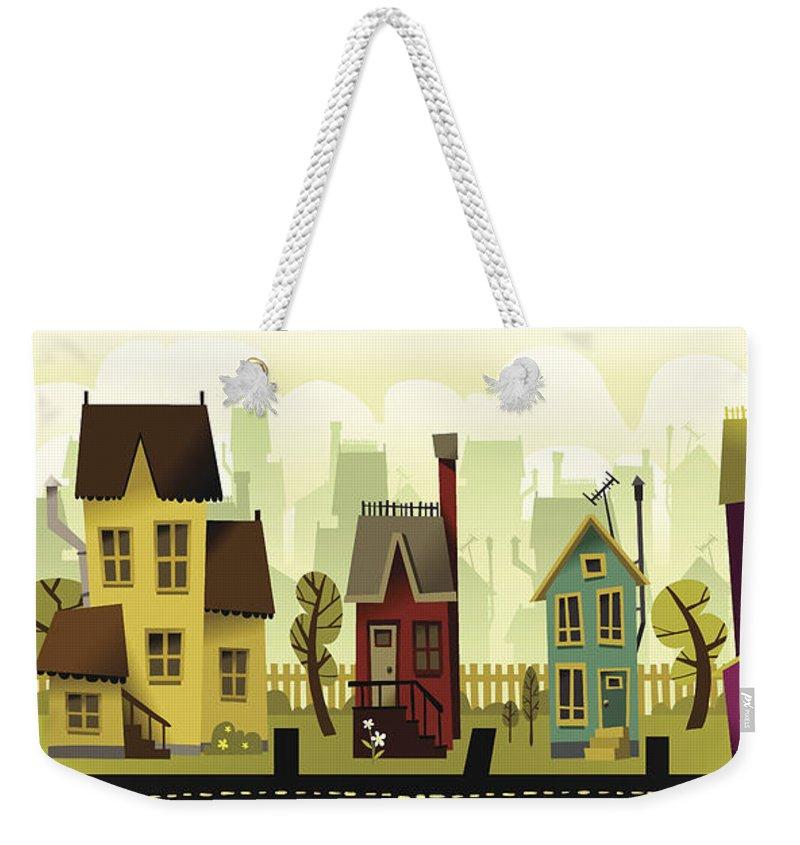 Grass Weekender Tote Bag featuring the digital art Seamless Neighborhood by Doodlemachine