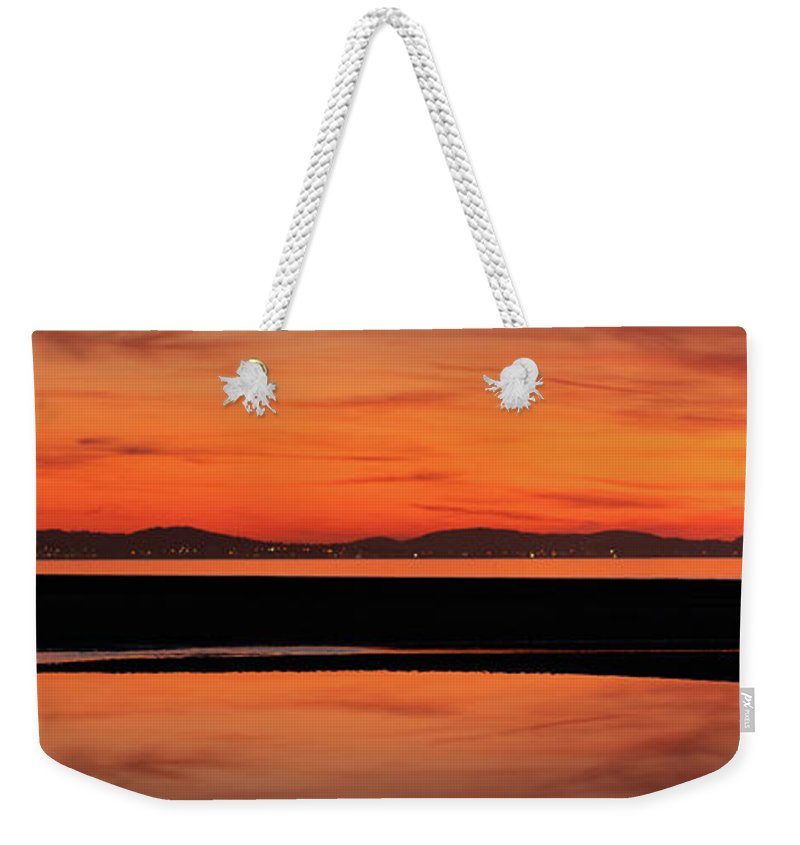 Welsh Sunset Weekender Tote Bag featuring the photograph Seascape Sunset Panorama by Adrian Evans