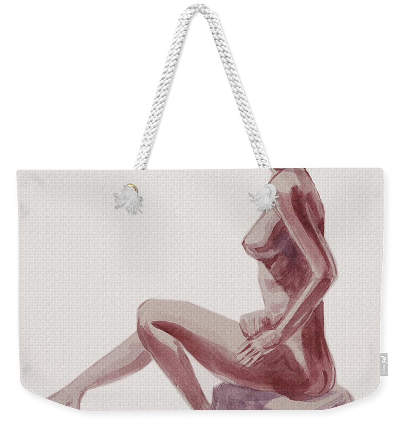 Nude Weekender Tote Bag featuring the painting Seated Nude Woman Watercolor by Irina Sztukowski