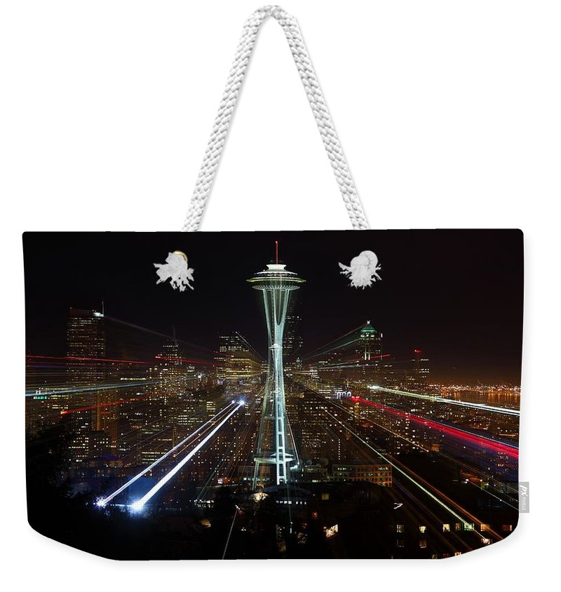Laser Weekender Tote Bag featuring the photograph Seattle Skyline Laser Show by Jonkman Photography