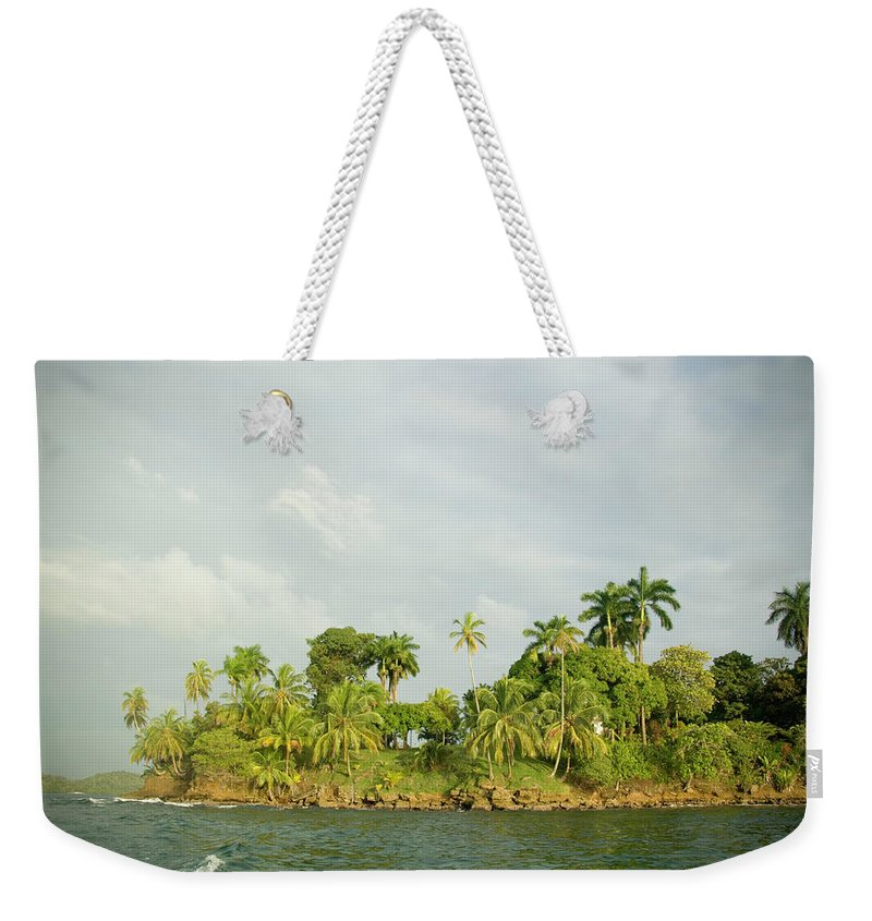 Fan Palm Tree Weekender Tote Bag featuring the photograph Section Of Rocky Tropical Island by Photodisc
