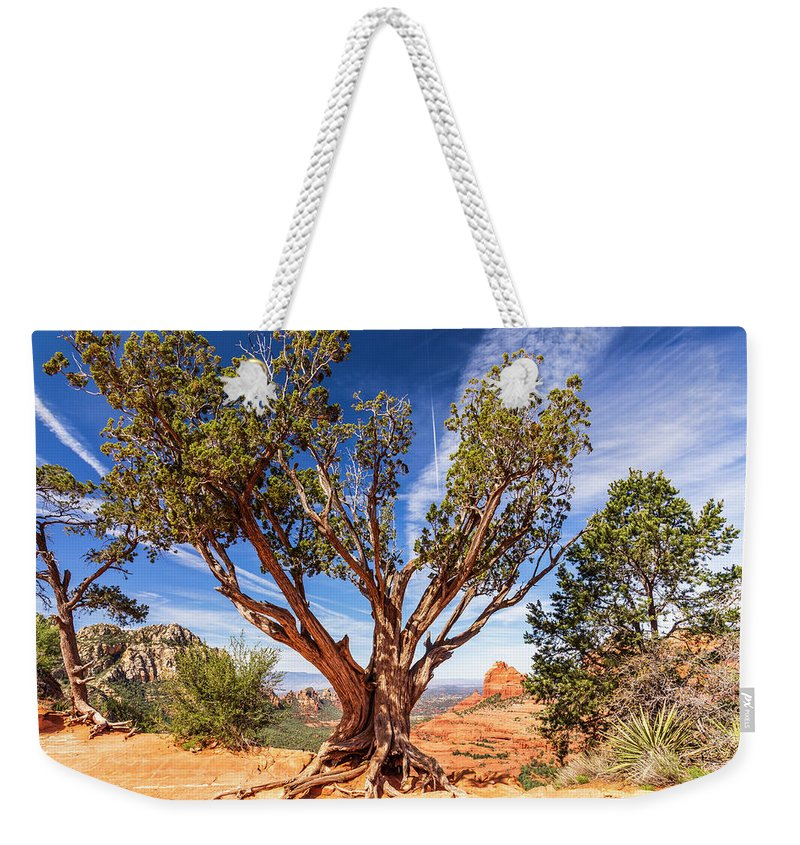 America Weekender Tote Bag featuring the photograph Sedona, Az - Merry-go-round The Utah Juniper by ProPeak Photography