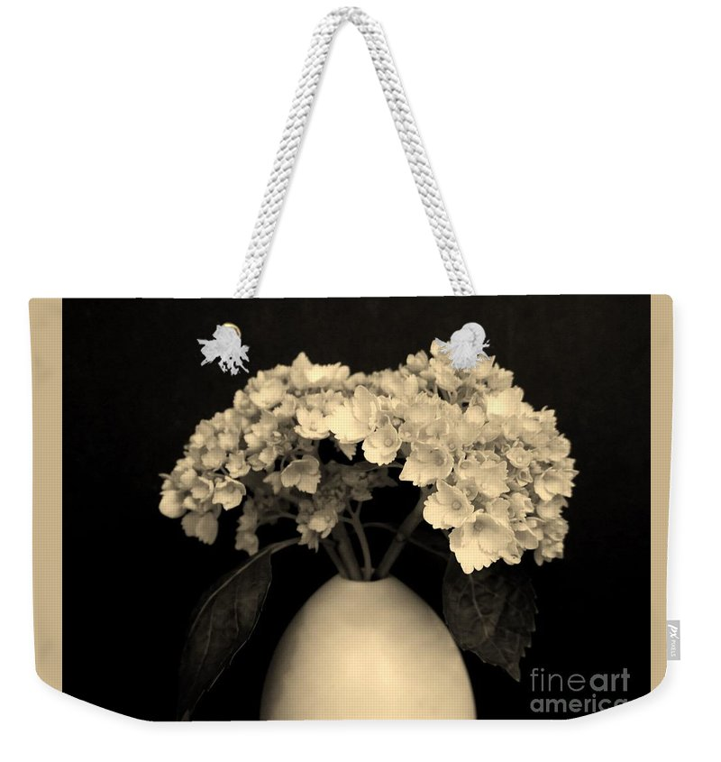 Photo Weekender Tote Bag featuring the photograph Sepia Dainties by Marsha Heiken