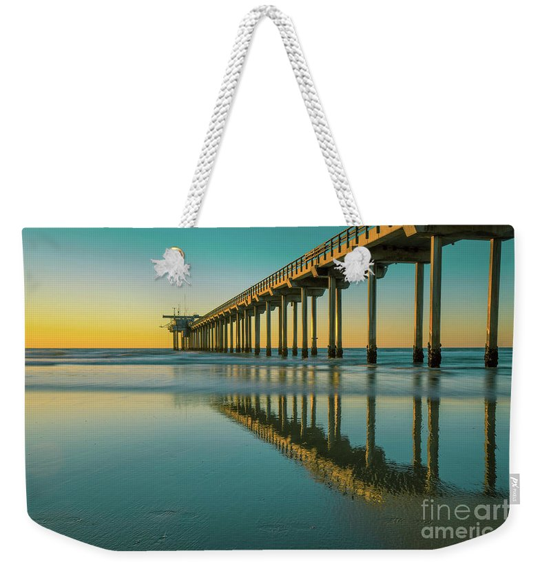Serenity Weekender Tote Bag featuring the photograph Serenity Scripps Pier La Jolla San Diego by Edward Fielding