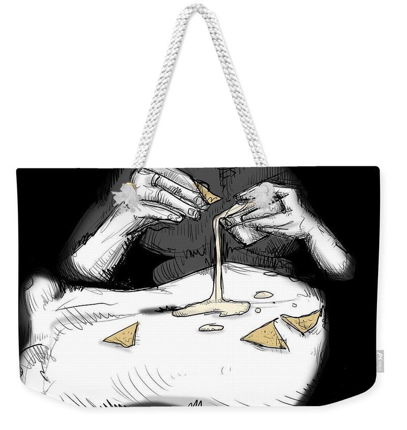 Food Weekender Tote Bag featuring the drawing Sexy Queso by Ludwig Van Bacon