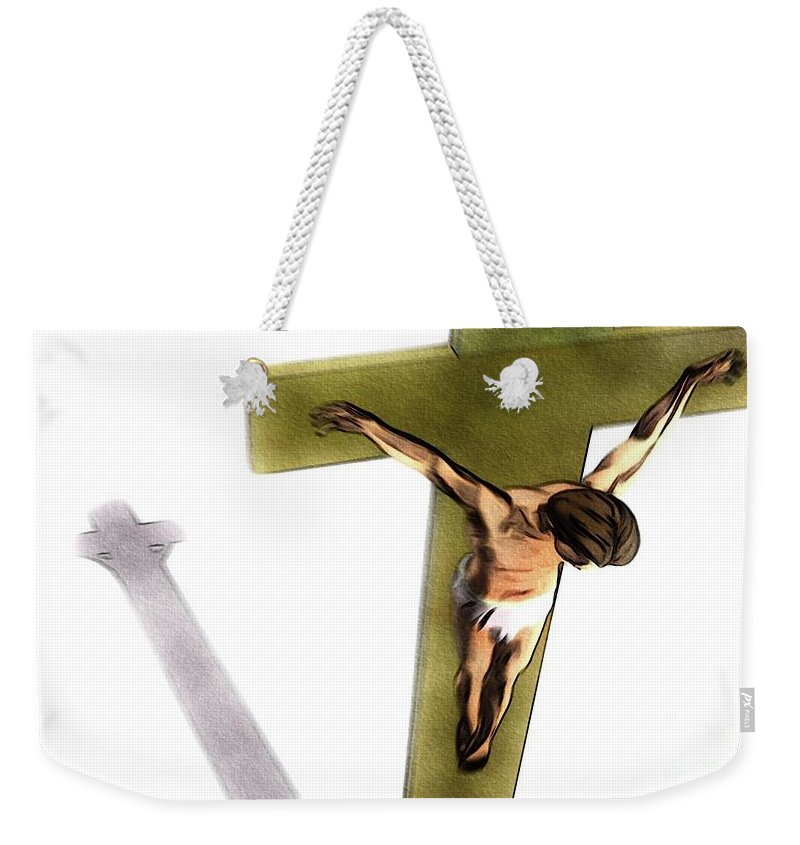 Jesus Weekender Tote Bag featuring the painting Shadow Of The Cross by Pierre Blanchard