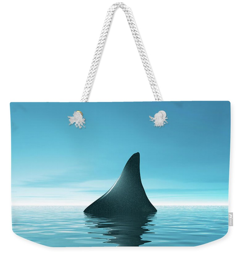 Risk Weekender Tote Bag featuring the digital art Shark Waiting In Th Calm Blue Sea by Artpartner-images