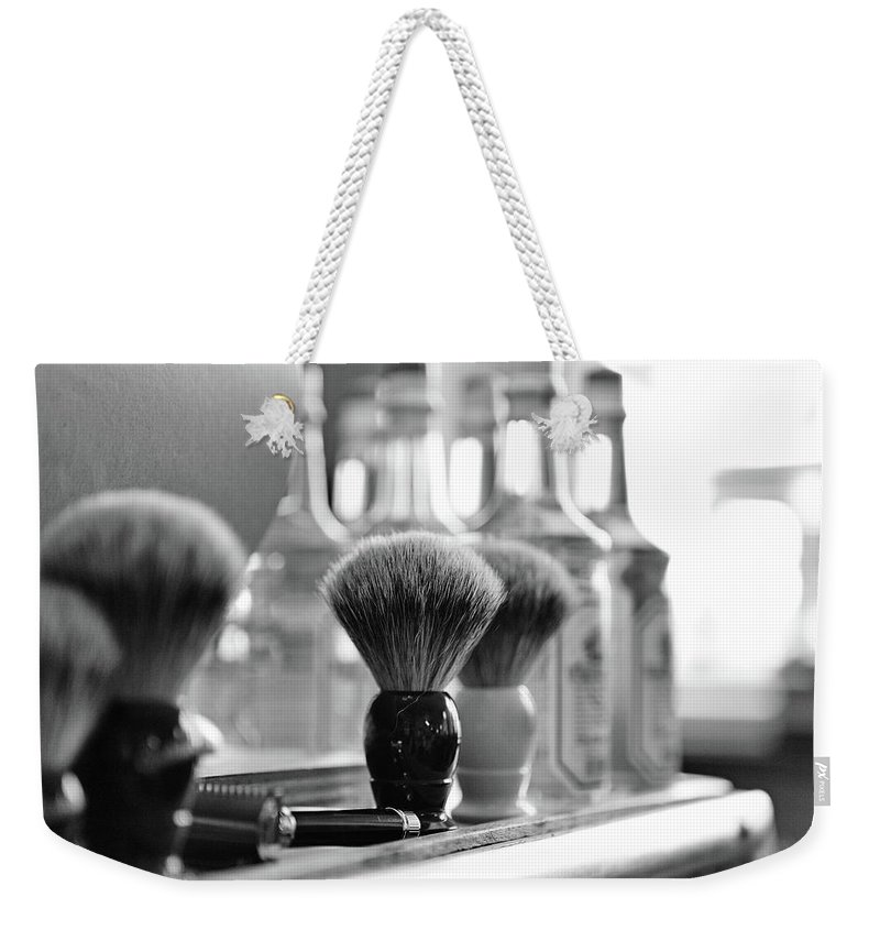 Office Weekender Tote Bag featuring the photograph Shaving Brushes At Barbershop by Lorado