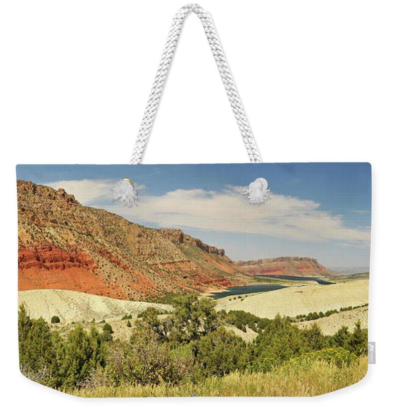 Scenics Weekender Tote Bag featuring the photograph Sheep Creek Bay Panorama Shot by Utah-based Photographer Ryan Houston