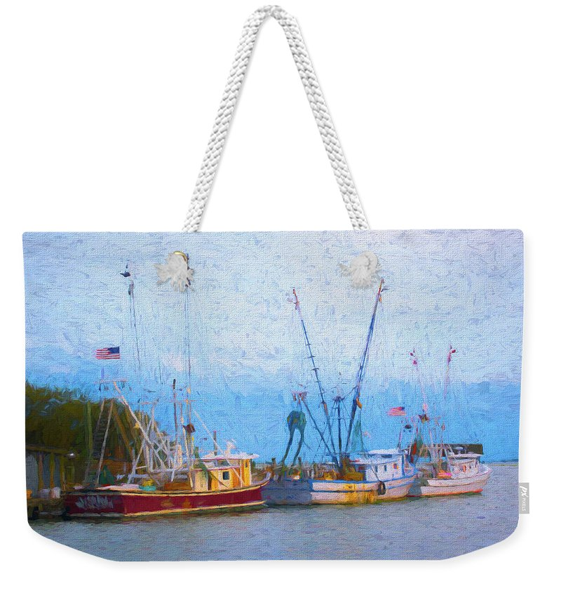 Ocean Weekender Tote Bag featuring the digital art Shem Creek Boats V by Jon Glaser