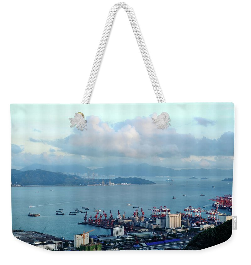 Tranquility Weekender Tote Bag featuring the photograph Shenzhen Bay And Shekou Port by Wilson.lau
