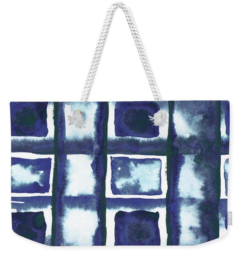 Shibori Weekender Tote Bag featuring the mixed media Shibori Box Pattern II by Elizabeth Medley