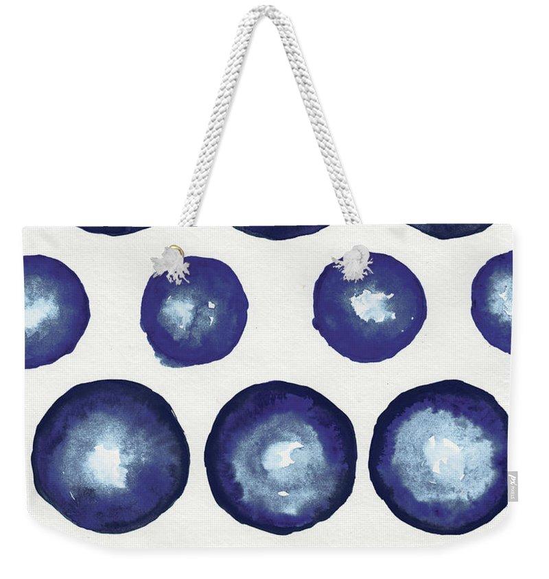 Shibori Weekender Tote Bag featuring the mixed media Shibori Dots by Elizabeth Medley