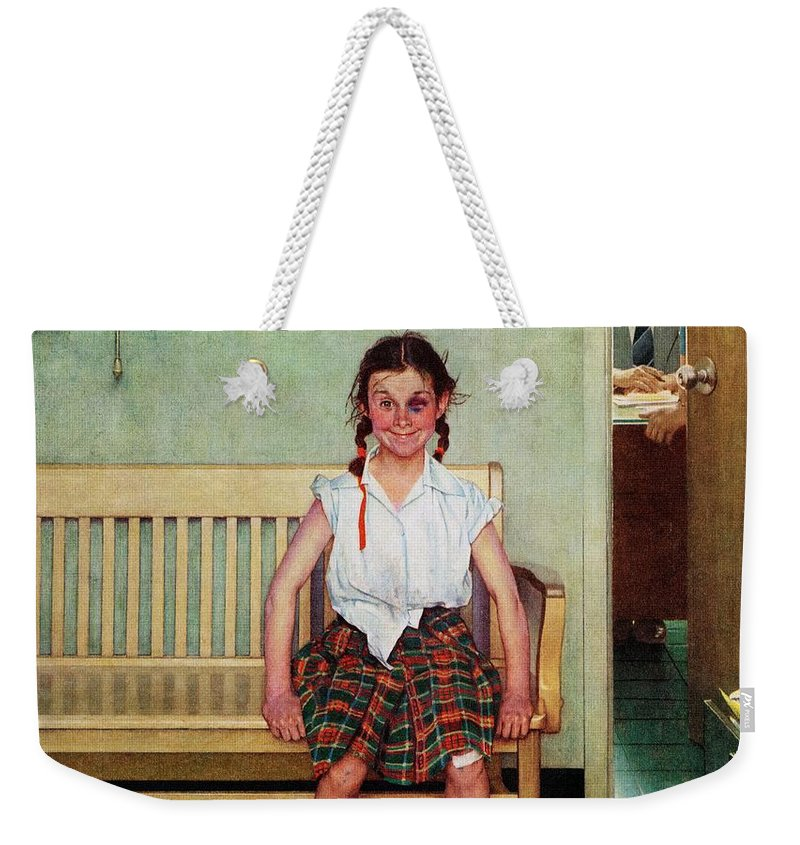 Black Eyes Weekender Tote Bag featuring the drawing Shiner by Norman Rockwell