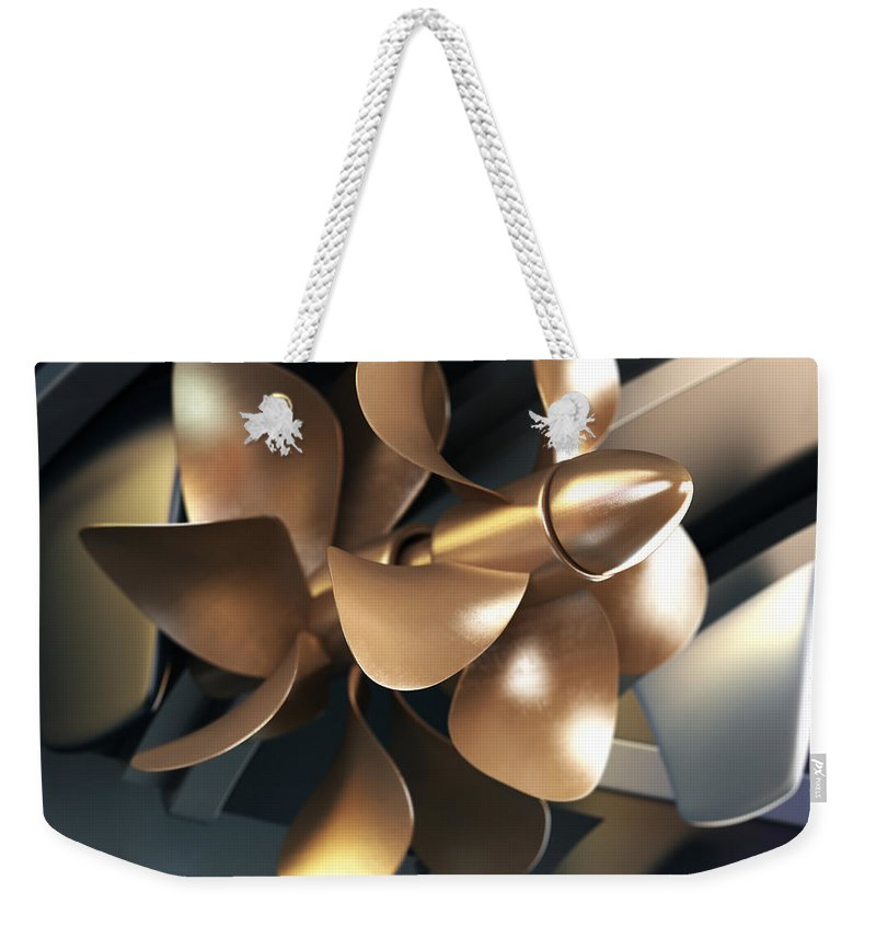 Engine Weekender Tote Bag featuring the photograph Ship Propeller by Adventtr
