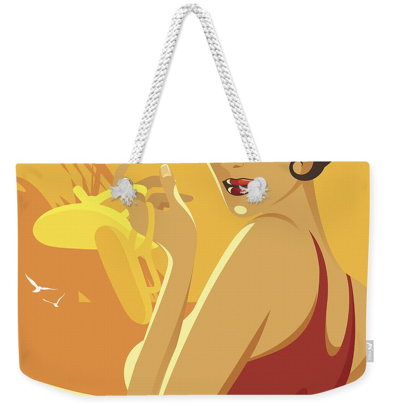 Tropical Tree Weekender Tote Bag featuring the digital art Shoes Off by Megamix