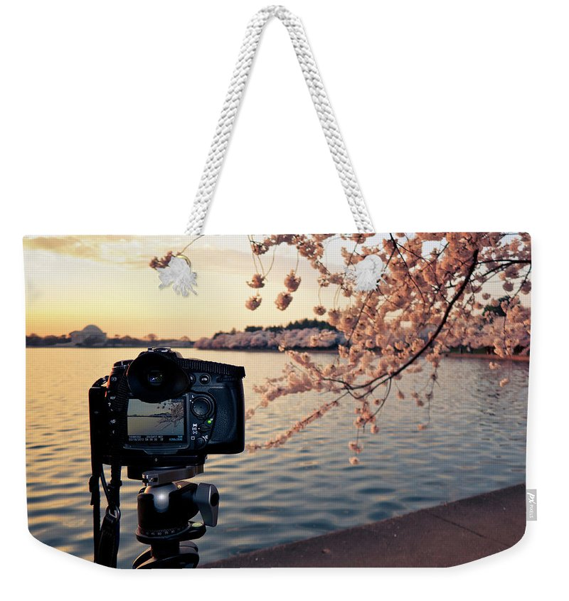Tidal Basin Weekender Tote Bag featuring the photograph Shooting Cherry Blossoms In Washington by Camrocker