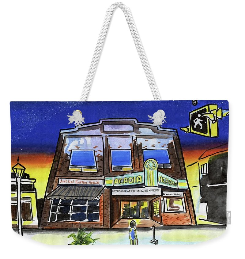 Cinema Weekender Tote Bag featuring the painting Show Time-acadia Cinema by Kevin Cameron