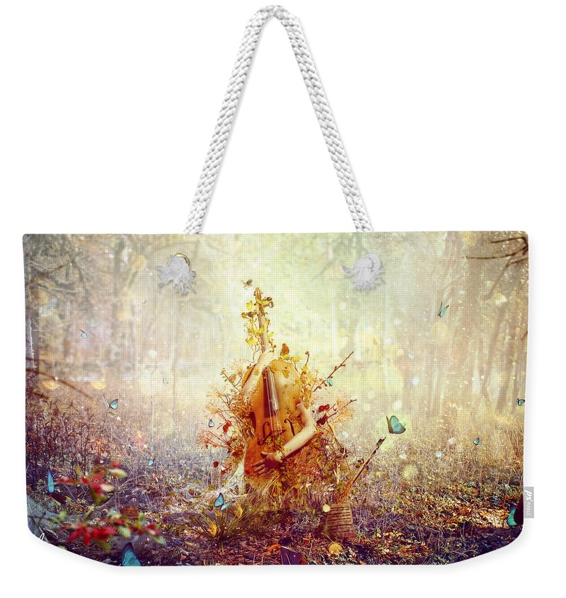 Surreal Weekender Tote Bag featuring the digital art Silence by Mario Sanchez Nevado