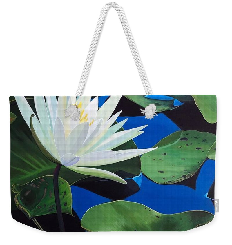 Aquatic Weekender Tote Bag featuring the painting Silent Love by Hunter Jay