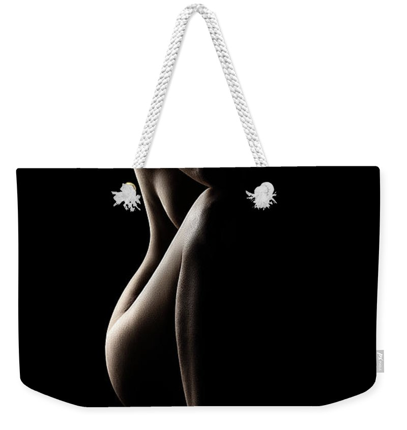 Nude Weekender Tote Bag featuring the photograph Silhouette of nude woman by Johan Swanepoel