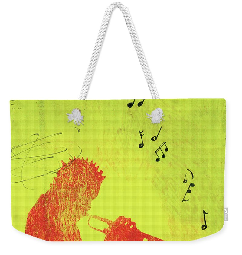One Man Only Weekender Tote Bag featuring the digital art Silhouette Of Trumpet Player by Darren Hopes